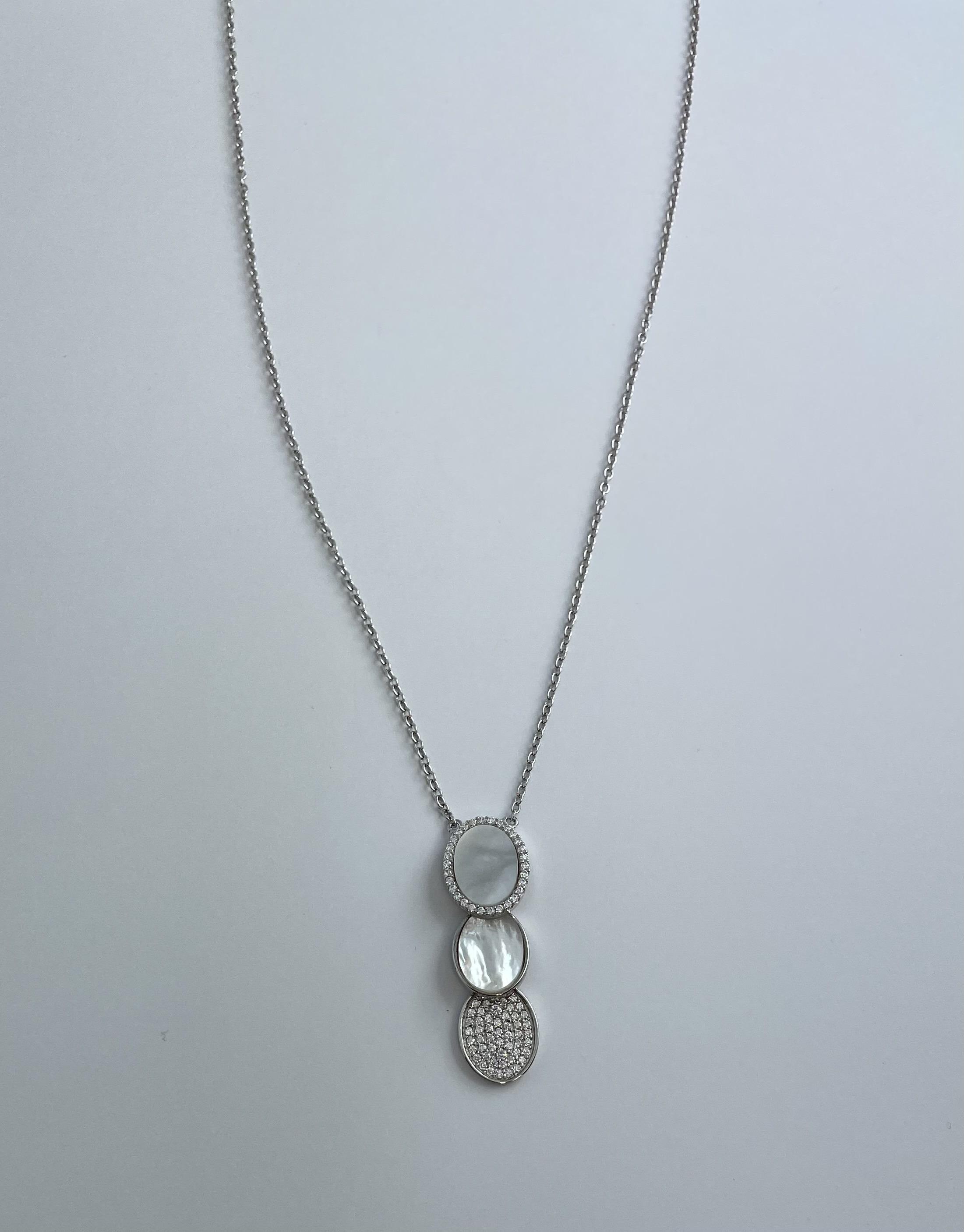 Silber Collier Zirkonia Perlmutt